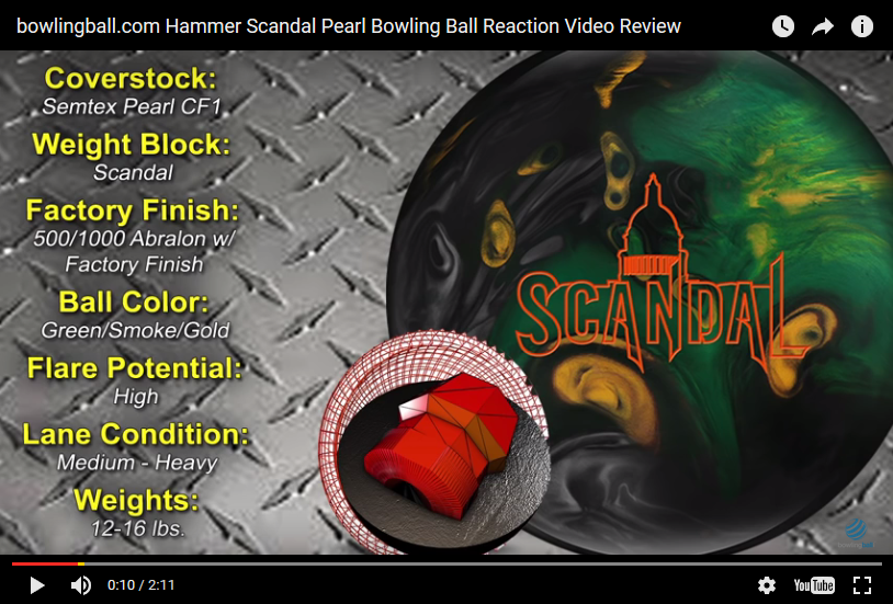 Hammer Scandal Pearl, bowling ball review, Bowling Ball Video, Bowling Ball Video Reviews, Bowling Ball Reaction Video, Hammer Bowling Ball Reviews, Hammer Bowling Ball Videos