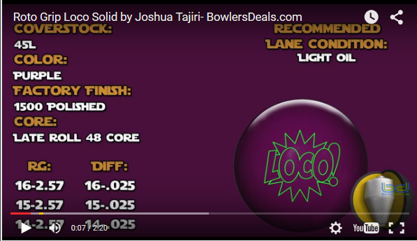 Roto Grip Loco Solid Bowling Ball Video by BowlerDeals.com