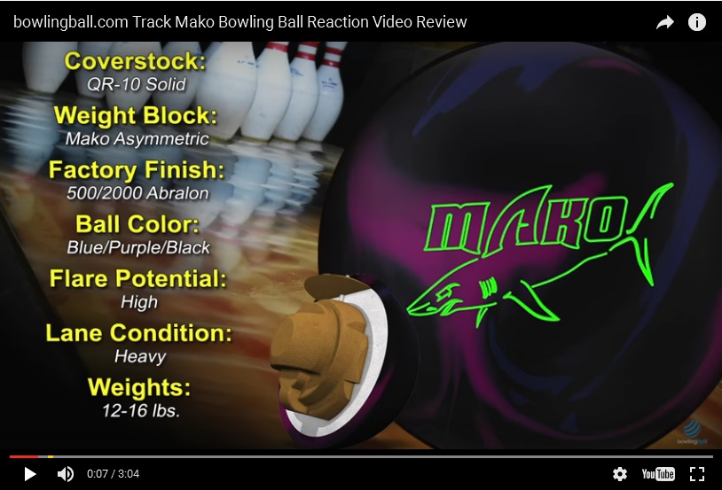 Track Mako, Track Bowling Ball Reviews, Track Bowling Ball Video, Bowling Ball Video Reviews, Bowling Ball Reaction Video