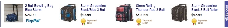 Save Now! on Storm Bowling Bags for the Holidays from Ebay.com Click Here!